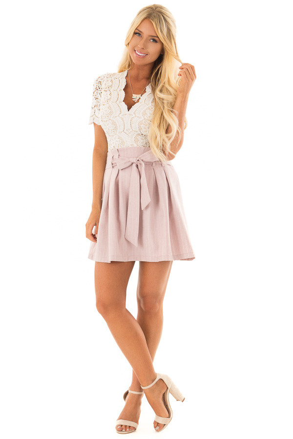 Misty Pink Pinstripe Skirt with Waist Tie front full body