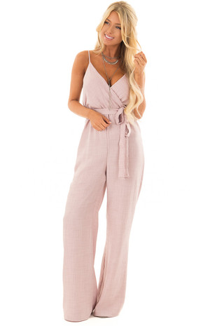 Misty Pink Wide Leg Jumpsuit with Waist Tie front full body