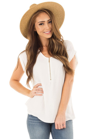Off White Cap Sleeve Blouse with Gold Zipper Neckline front close up