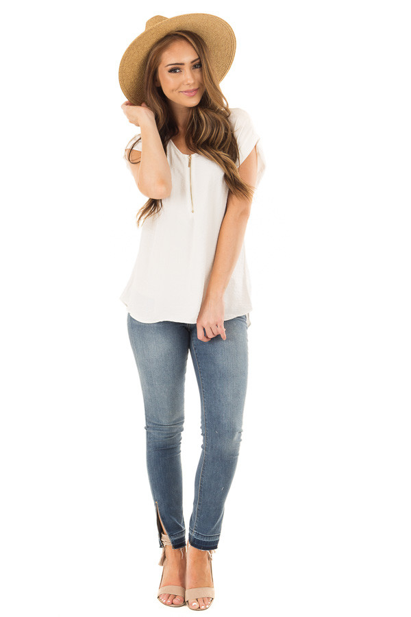 Off White Cap Sleeve Blouse with Gold Zipper Neckline front full body