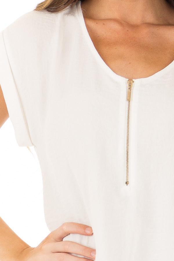 Off White Cap Sleeve Blouse with Gold Zipper Neckline detail