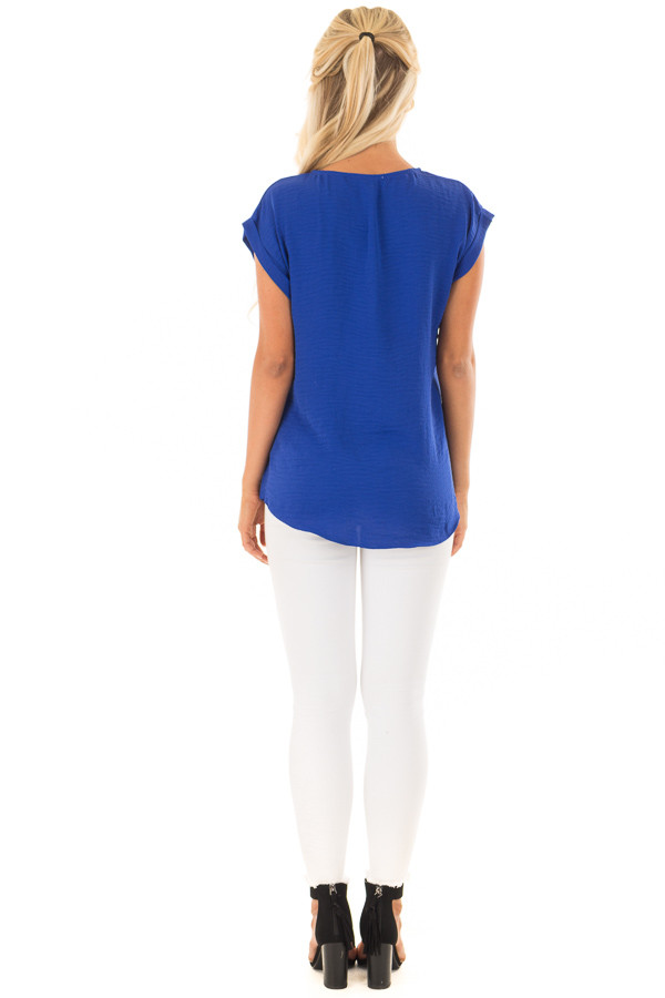 Royal Blue Cap Sleeve Blouse with Gold Zipper Neckline back full body
