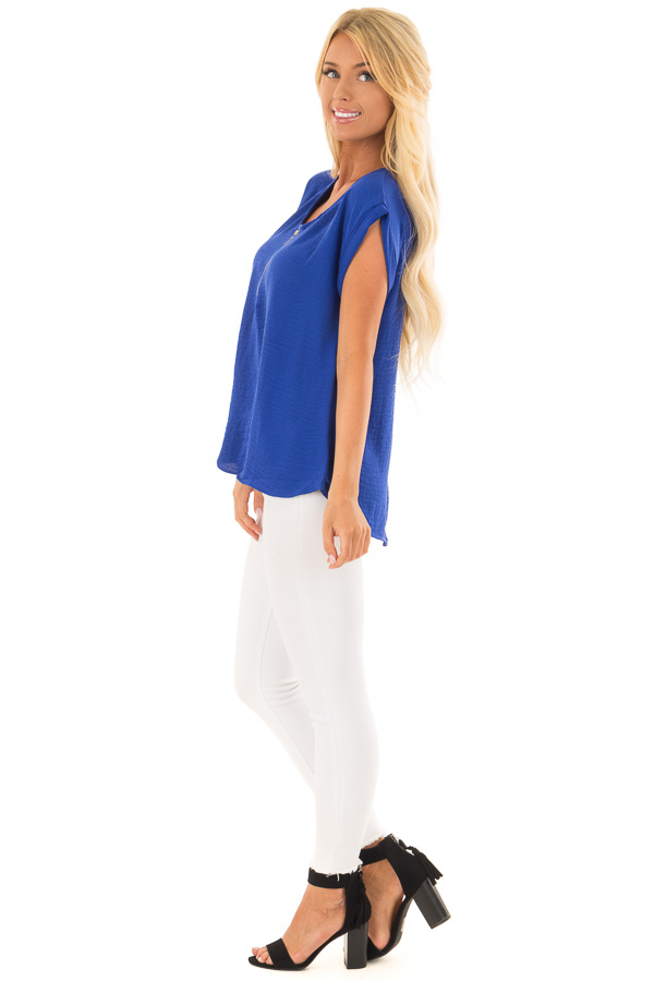 Royal Blue Cap Sleeve Blouse with Gold Zipper Neckline side full body