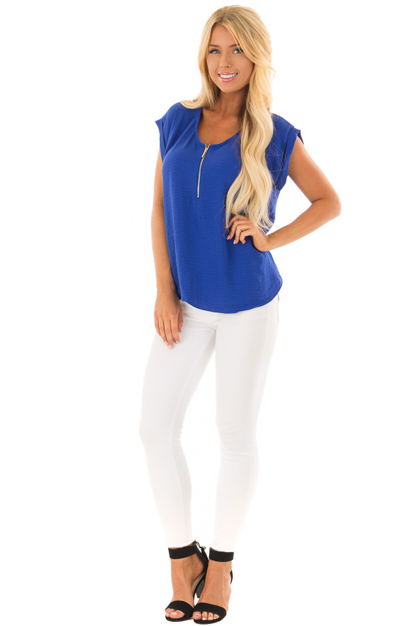 Royal Blue Cap Sleeve Blouse with Gold Zipper Neckline front full body