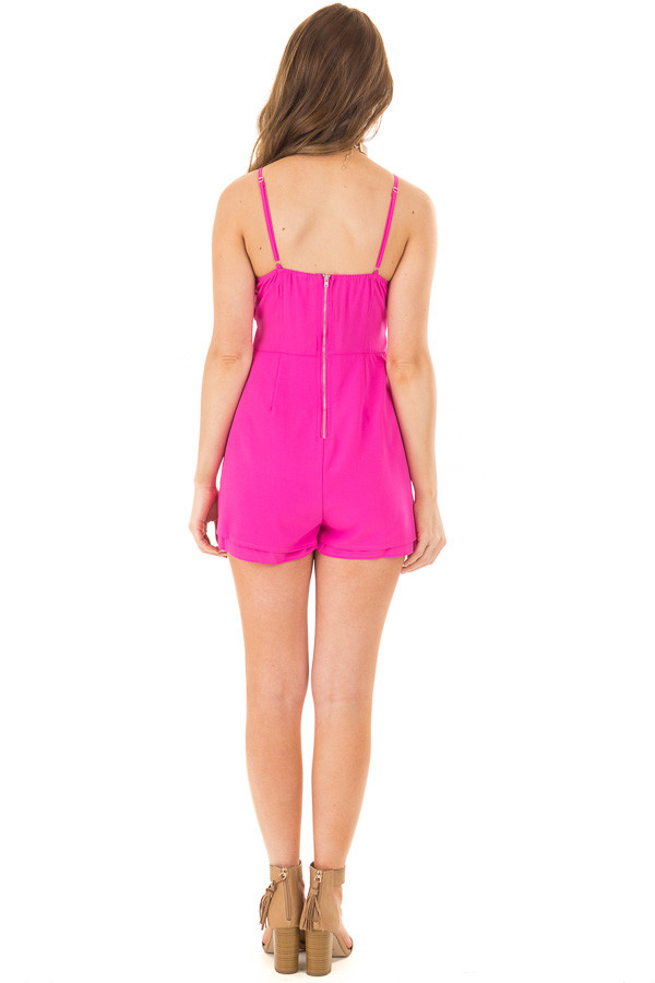 Fuchsia Romper with Bow Tie Detail and Layered Hemline back full body