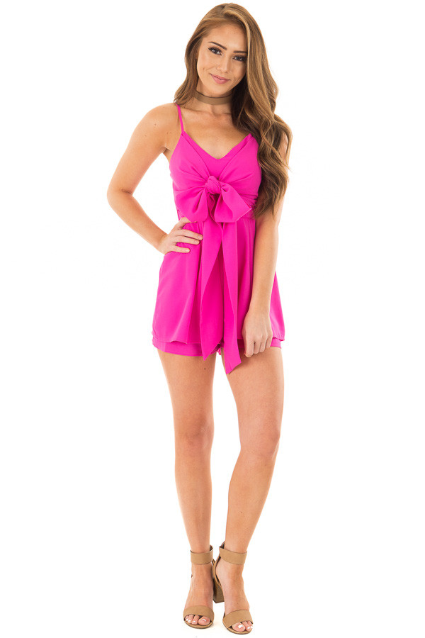 Fuchsia Romper with Bow Tie Detail and Layered Hemline front full body