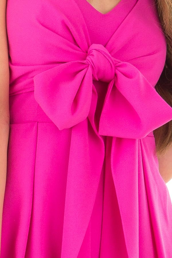 Fuchsia Romper with Bow Tie Detail and Layered Hemline detail