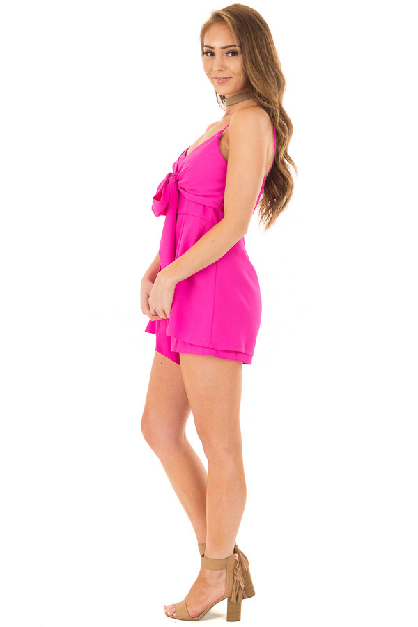 Fuchsia Romper with Bow Tie Detail and Layered Hemline side full body