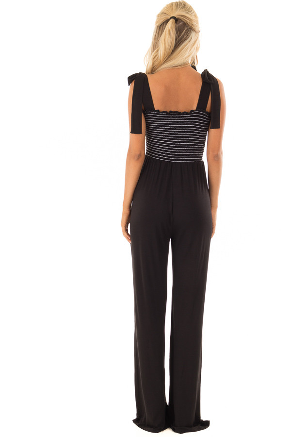 Black Comfy Wide Leg Jumpsuit with Tie Straps back full body