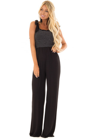 Black Comfy Wide Leg Jumpsuit with Tie Straps front close up
