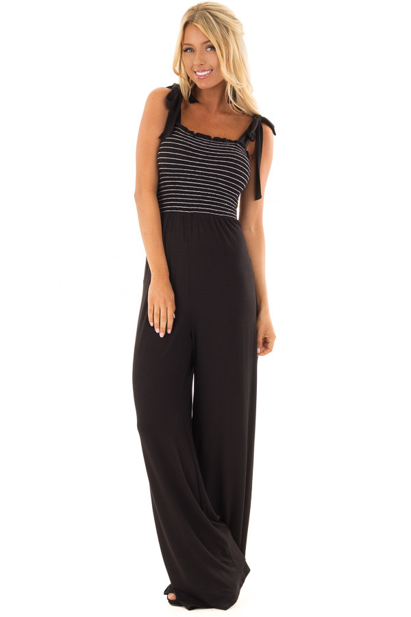 Black Comfy Wide Leg Jumpsuit with Tie Straps front full body