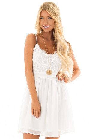 White Sleeveless Dress with Lace Detail front close up