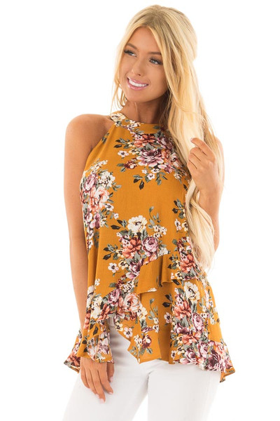 Mustard Yellow Floral Print High Neck Tank Top front close up