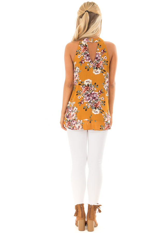 Mustard Yellow Floral Print High Neck Tank Top back full body