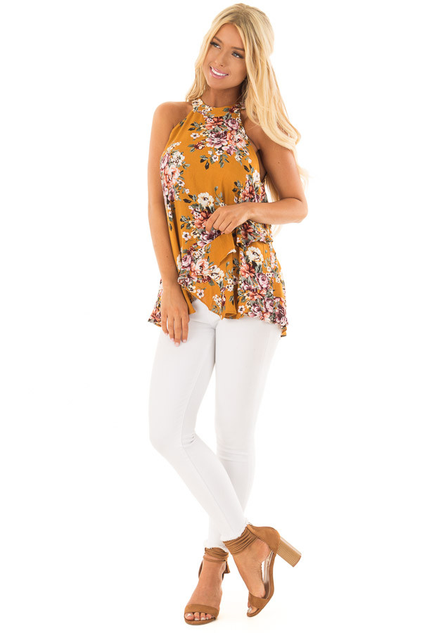 Mustard Yellow Floral Print High Neck Tank Top front full body