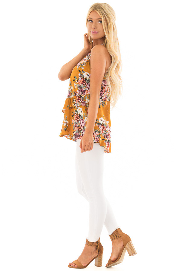 Mustard Yellow Floral Print High Neck Tank Top side full body