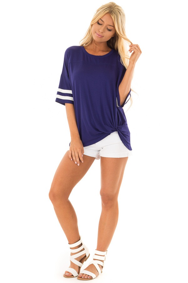 Deep Blue Tee Shirt with White Stripes and Twist Detail front full body