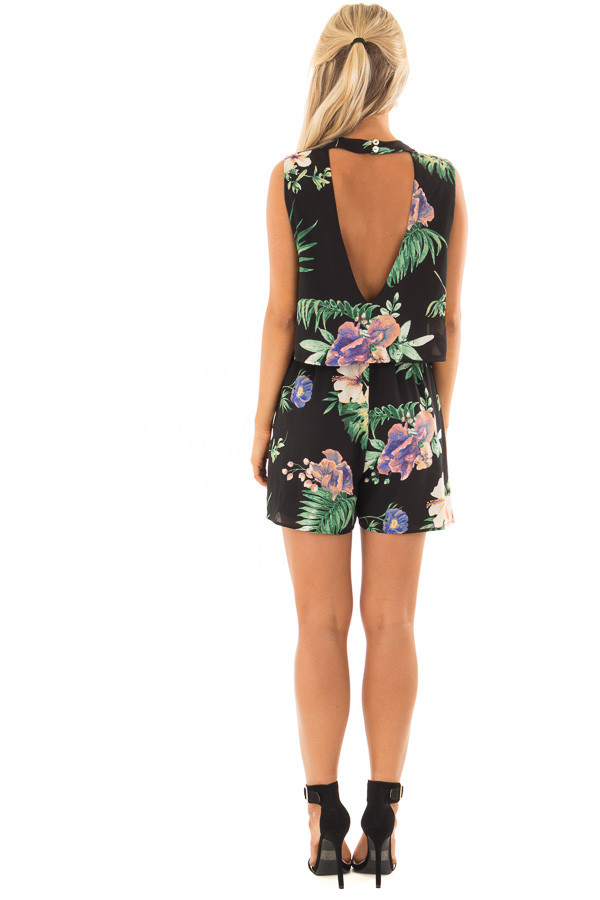 Black Floral Sleeveless Romper with Mock Neck back full body