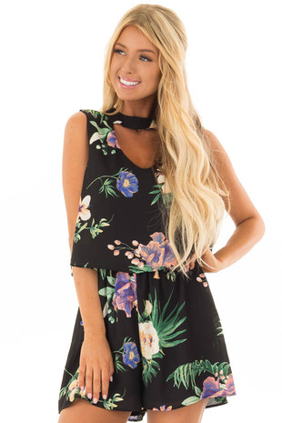 Black Floral Sleeveless Romper with Mock Neck front close up