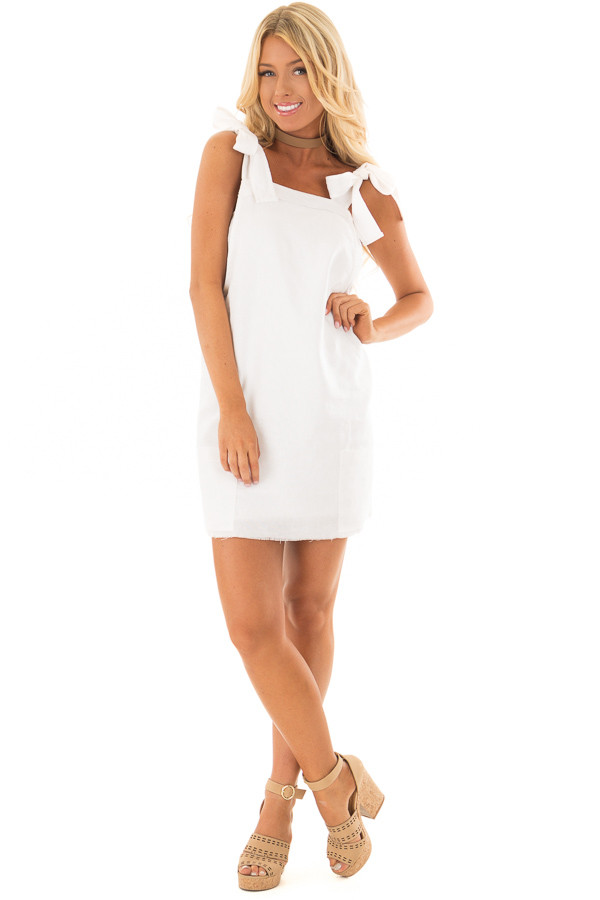 Ivory Overall Dress with Shoulder Ties and Pockets front full body