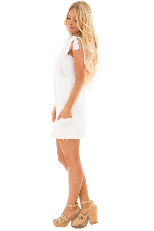 Ivory Overall Dress with Shoulder Ties and Pockets side full body