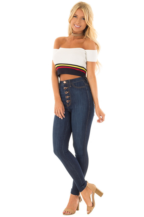 Off White Striped Off the Shoulder Crop Top front full body