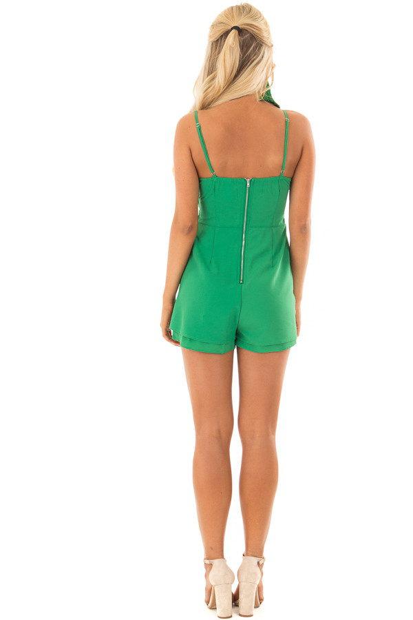 Kelly Green Romper with Bow Tie Detail and Layered Hemline back full body