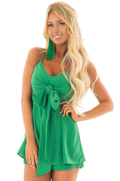 Kelly Green Romper with Bow Tie Detail and Layered Hemline front closeup