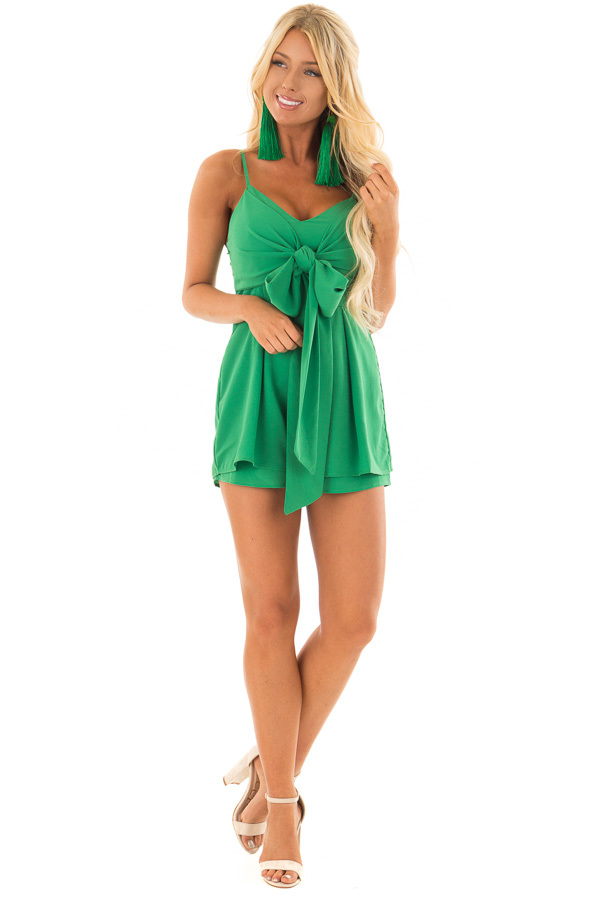 Kelly Green Romper with Bow Tie Detail and Layered Hemline front full body