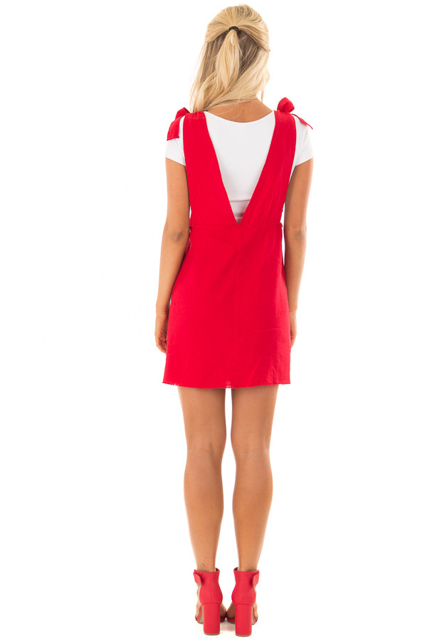 Lipstick Red Overall Dress with Shoulder Ties and Pockets back full body