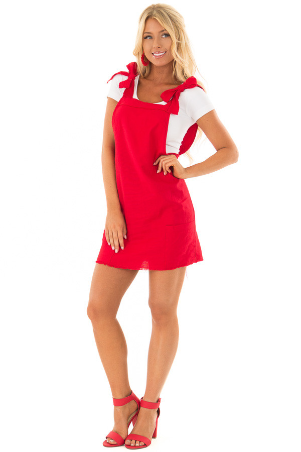 Lipstick Red Overall Dress with Shoulder Ties and Pockets front full body
