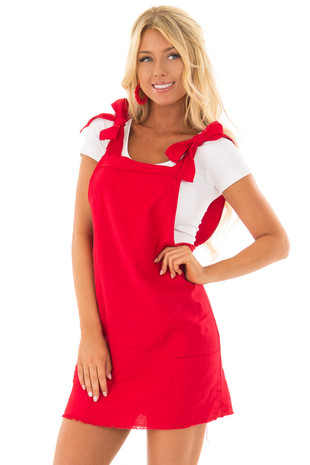 Lipstick Red Overall Dress with Shoulder Ties and Pockets front closeup