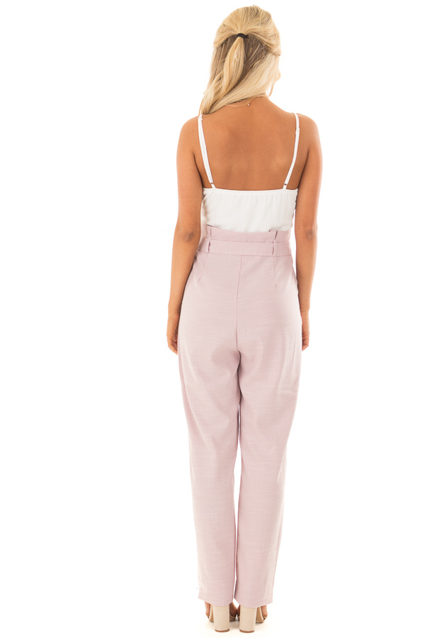 Dusty Pink Tank Top Jumpsuit with Pockets and Waist Tie back full body