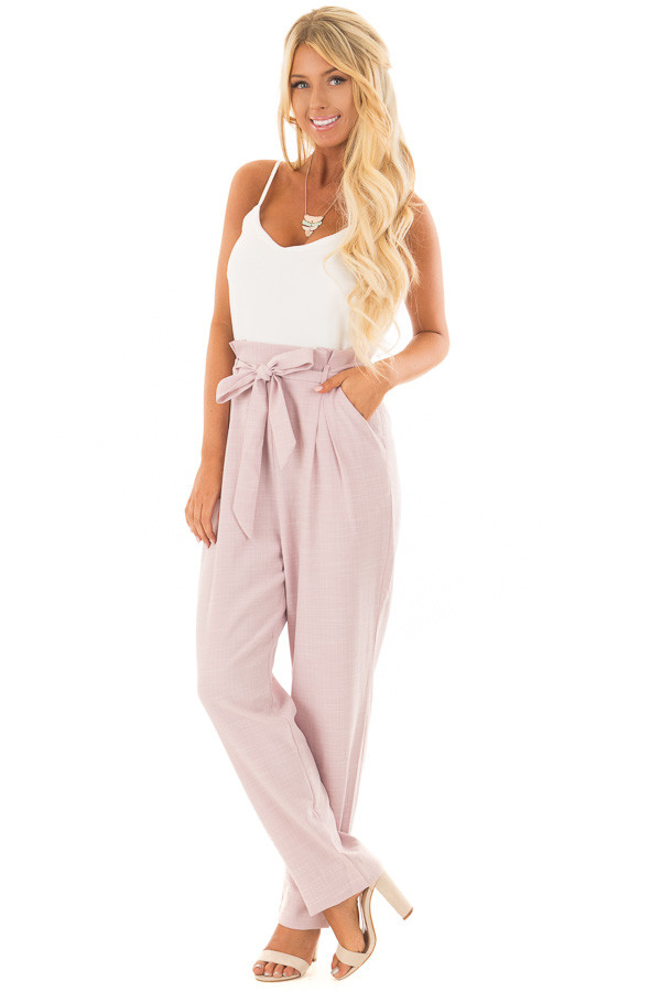 Dusty Pink Tank Top Jumpsuit with Pockets and Waist Tie front full body