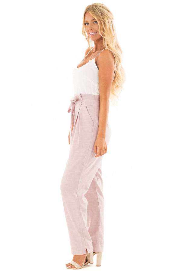 Dusty Pink Tank Top Jumpsuit with Pockets and Waist Tie side full body