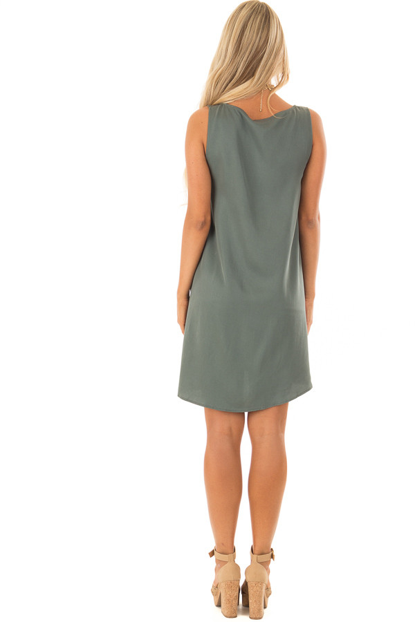 Dark Sage Scoop Neck Mini Dress with Pockets back full body