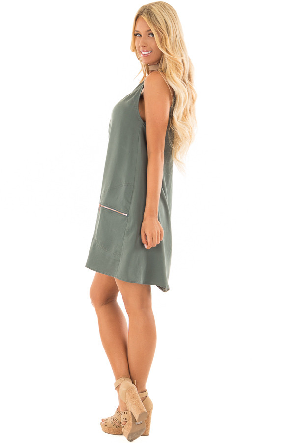 Dark Sage Scoop Neck Mini Dress with Pockets side full body