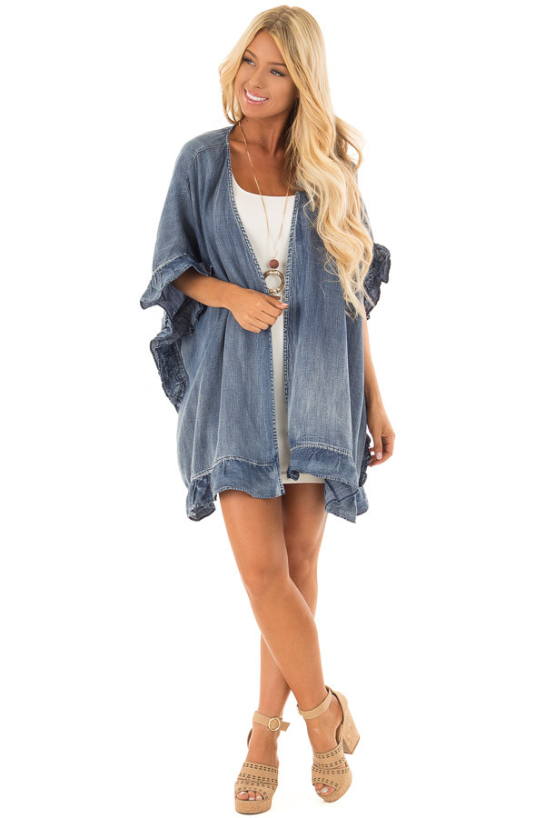 Medium Wash Denim Open Cardigan with Ruffle Trim front full body