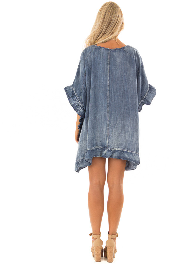 Medium Wash Denim Open Cardigan with Ruffle Trim back full body