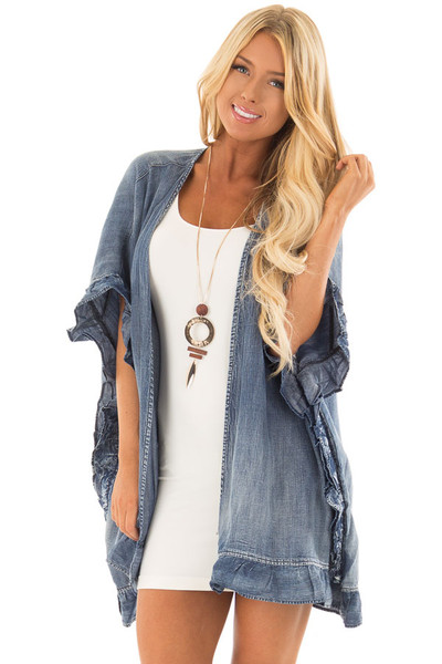 Medium Wash Denim Open Cardigan with Ruffle Trim front closeup