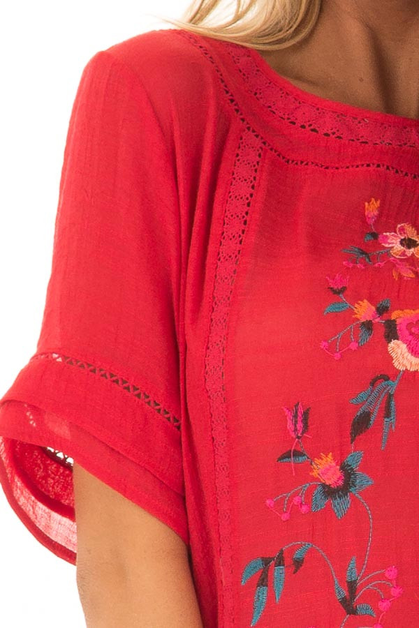 Cherry Red Short Sleeve Top with Floral Embroidery front detail
