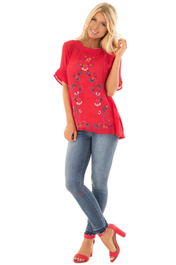Cherry Red Short Sleeve Top with Floral Embroidery front full body
