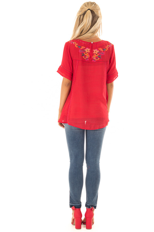 Cherry Red Short Sleeve Top with Floral Embroidery back full body