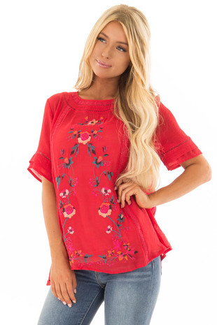 Cherry Red Short Sleeve Top with Floral Embroidery front closeup