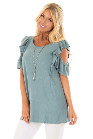 Ocean Green Cold Shoulder Ruffle Sleeve Top front closeup