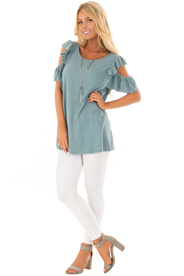Ocean Green Cold Shoulder Ruffle Sleeve Top front full body