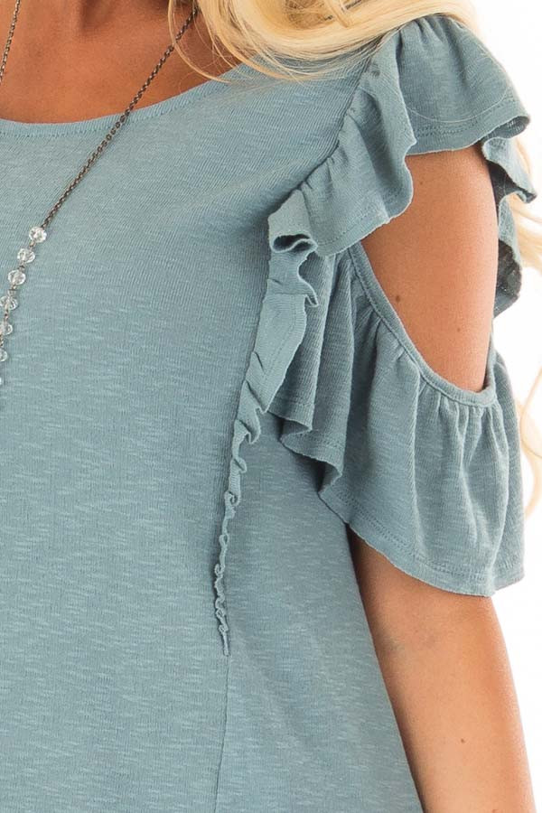 Ocean Green Cold Shoulder Ruffle Sleeve Top front detail