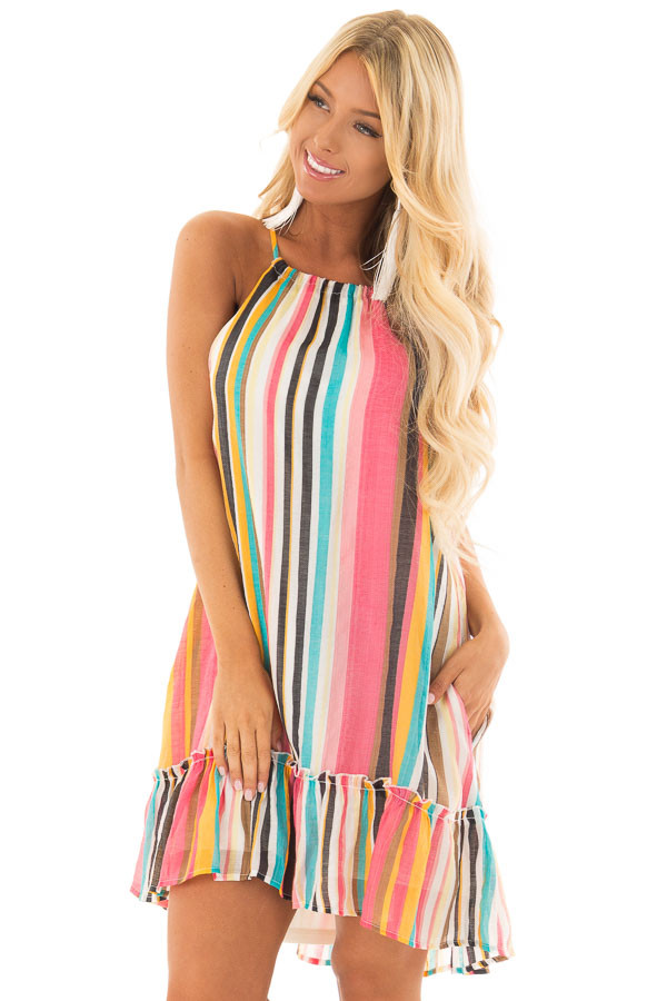 Multicolor Striped Halter Dress with Ruffle Hemline front closeup