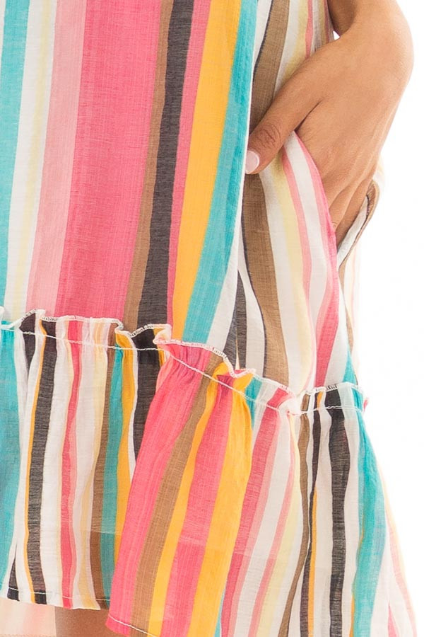 Multicolor Striped Halter Dress with Ruffle Hemline front detail