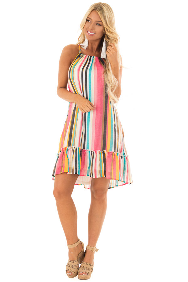 Multicolor Striped Halter Dress with Ruffle Hemline front full body